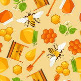 Naadloos patroon met honing en bijenvoorwerpen Royalty-vrije Stock Afbeeldingen