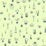 Naadloos patroon met huisinstallaties in potten Vector illustratie als achtergrond royalty-vrije illustratie