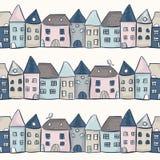 Naadloos patroon met huizen Stock Fotografie