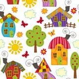 Naadloos patroon met huizen Stock Foto's
