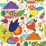 Naadloos patroon met huizen, bloemen, vogels Royalty-vrije Stock Afbeeldingen