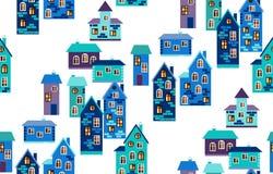 Naadloos patroon met huizen De leuke kaart van de beeldverhaalstad in blauwe tonen Stock Afbeeldingen