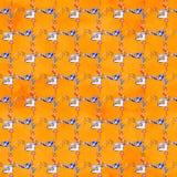 Naadloos patroon met illustraties van het naaien van hulpmiddelen Naaiend uitrusting, toebehoren en materiaal om te naaien stock fotografie