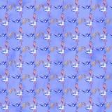 Naadloos patroon met illustraties van het naaien van hulpmiddelen Naaiend uitrusting, toebehoren en materiaal om te naaien stock afbeelding
