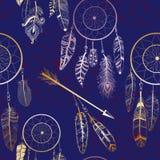 Naadloos patroon met Inheemse Amerikaanse Indische droomvanger Stock Foto
