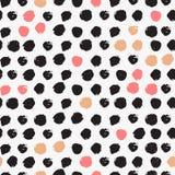 Naadloos patroon met inktborstel Royalty-vrije Stock Foto