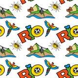 Naadloos patroon met Inschrijving Rio, berg en papegaai Royalty-vrije Stock Foto