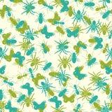 Naadloos patroon met insectensilhouetten Stock Foto