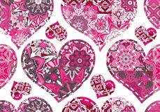 Naadloos patroon met inzamelingsharten in uitstekende lapwerkstijl Royalty-vrije Stock Afbeelding