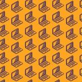 Naadloos patroon met isometrische laptop tekens Royalty-vrije Stock Afbeelding