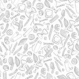 Naadloos patroon met Italiaanse macaroni van verschillende soorten trekt de licht gekleurde hand op witte achtergrond vector illustratie