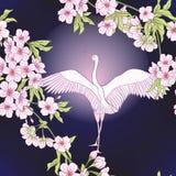 Naadloos patroon met Japanse bloesemsakura en kraan, vogel vector illustratie