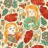 Naadloos patroon met jonge meisjes met kat en vogel Stock Foto's