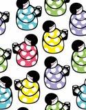 Naadloos patroon met jonge vrouw en kop van melk vector illustratie