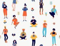 Naadloos patroon met jongeren met gadgets stock illustratie