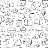Naadloos patroon met kaasstukken Voedsel en zuivelfabriek stock illustratie