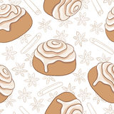 Naadloos patroon met kaneelbroodjes en kruid Vers gebakken zoet gebakje met het berijpen en kruid stock illustratie