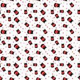 Naadloos patroon met kat met hart Vector Royalty-vrije Stock Foto's