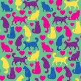 Naadloos patroon met katten en harten Stock Illustratie