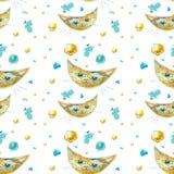 Naadloos patroon met katten Kat zoals een maan stock illustratie