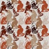 Naadloos patroon met kattenzegels Royalty-vrije Stock Foto's