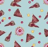 Naadloos patroon met kers en plakken van cake royalty-vrije illustratie