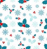 Naadloos Patroon met Kerstmis Holly Berry Royalty-vrije Stock Fotografie