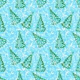 Naadloos patroon met Kerstmisbomen Royalty-vrije Stock Afbeeldingen