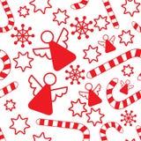 Naadloos patroon met Kerstmisengelen Stock Fotografie