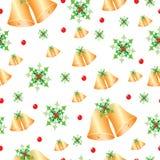 Naadloos patroon met Kerstmisklokken en maretak Royalty-vrije Stock Afbeeldingen