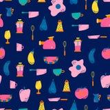 Naadloos patroon met keukentoestellen in een vlakke beeldverhaalstijl Achtergrond voor ontwerp cooking stock illustratie
