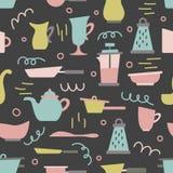 Naadloos patroon met keukentoestellen in een vlakke beeldverhaalstijl Achtergrond voor ontwerp cooking vector illustratie