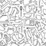 Naadloos patroon met keukentoestellen in lijnen Achtergrond voor ontwerp cooking vector illustratie