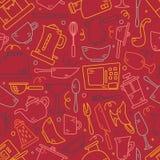 Naadloos patroon met keukentoestellen in lijnen Achtergrond voor ontwerp cooking stock illustratie
