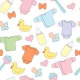 Naadloos patroon met kinderen` s dingen en speelgoed Vectorbeeld, ontwerpdruk Stock Foto's