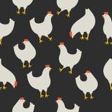 Naadloos patroon met kip op donkere achtergrond Stock Afbeeldingen