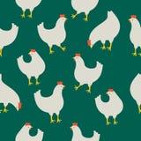 Naadloos patroon met kip op groene achtergrond Stock Afbeeldingen