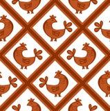 Naadloos patroon met kippen Stock Afbeeldingen