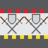 Naadloos patroon met klassieke pixelzwaarden en schilden Stock Afbeeldingen