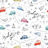 Naadloos patroon met kleine auto's en verkeersteken op witte achtergrond Stock Afbeelding