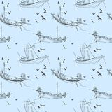 Naadloos patroon met kleine vissersboten tegen het blauwe overzees royalty-vrije illustratie