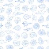 Naadloos patroon met kleine zeeschelpen Stock Foto's