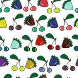 Naadloos patroon met kleurrijke aardbei en kers Stock Afbeeldingen