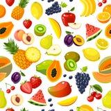 Naadloos patroon met kleurrijke beeldverhaalvruchten stock illustratie