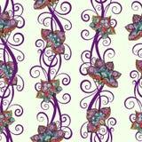 Naadloos patroon met kleurrijke bloemen en wervelingen stock illustratie
