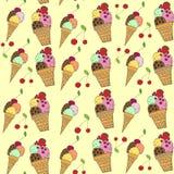 Naadloos patroon met kleurrijke hand getrokken vectorroomijsillustratie Stock Illustratie
