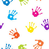 Naadloos patroon met kleurrijke handprints Royalty-vrije Stock Afbeelding