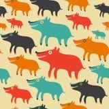 Naadloos patroon met kleurrijke honden Stock Afbeeldingen