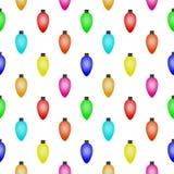 Naadloos patroon met Kleurrijke Kerstmislichten Royalty-vrije Stock Foto