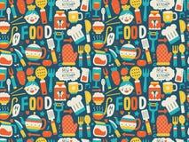 Naadloos patroon met kleurrijke kokende pictogrammen Royalty-vrije Stock Fotografie